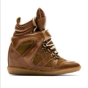 EUC Isabel Marant Brown Leather Wedge Sneaker